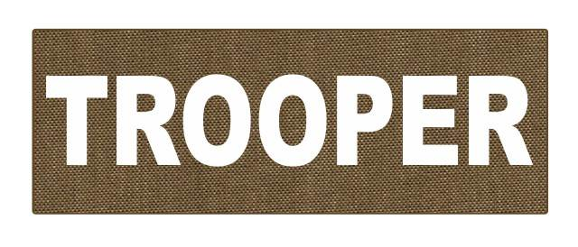 TROOPER ID Patch - 8.5x3.0 - White Lettering - Tan Backing - Hook Fabric
