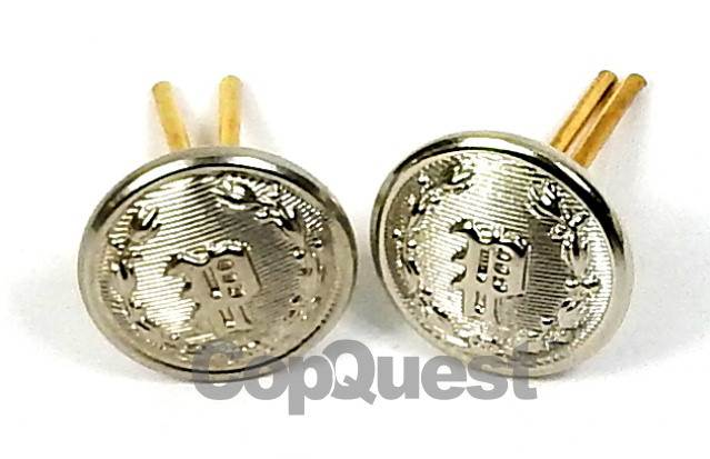 Uniform Cap Buttons - 'P' in Wreath - Nickel - Wire Post - Pair