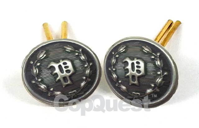 Uniform Cap Buttons - 'P' in Wreath - Silver Oxide - Wire Post - Pair