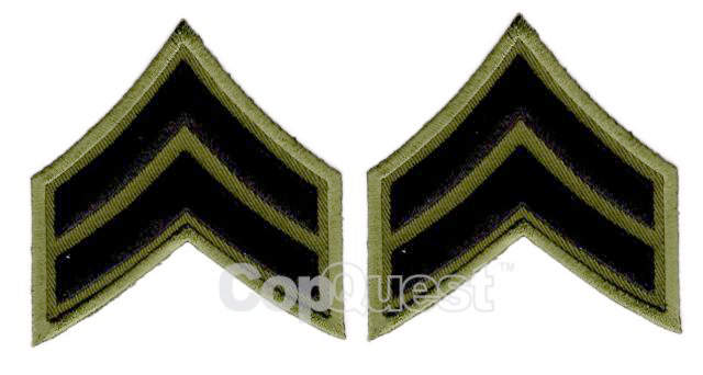 Uniform Chevrons - Black on OD - 3-inch wide - Corporal - Pair