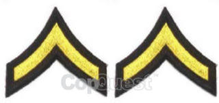 Uniform Chevrons - Medium Gold on Black - 3-inch wide - Private - Pair