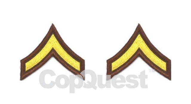 Uniform Chevrons - Medium Gold on Brown - 3-inch wide - Private - Pair