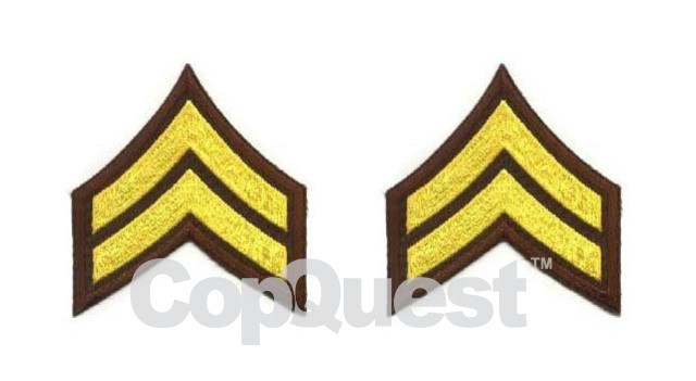 Uniform Chevrons - Medium Gold on Brown - 3-inch wide - Corporal - Pair
