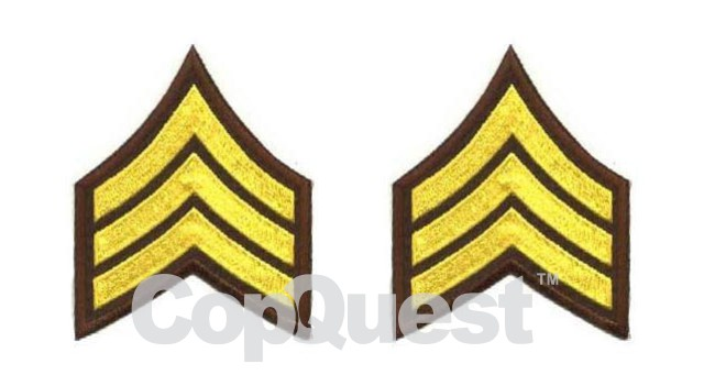 Uniform Chevrons - Medium Gold on Brown - 3-inch wide - Sergeant - Pair