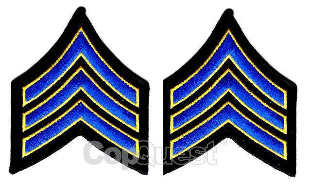 Uniform Chevrons - Royal/Med Gold on Black - 3-inch wide - Sergeant - Pair