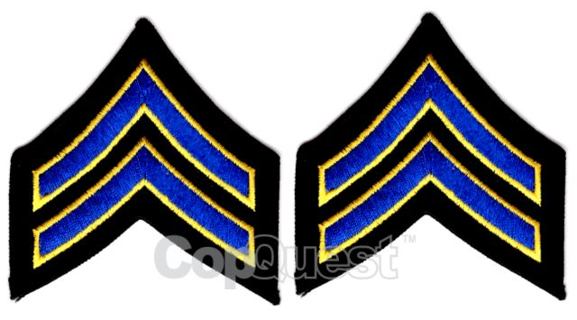 Uniform Chevrons - Royal/Med Gold on Black - 3-inch wide - Corporal - Pair