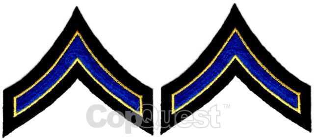 Uniform Chevrons - Royal/Med Gold on Black - 3-inch wide - Private - Pair