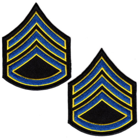 Uniform Chevrons - Royal/Med Gold on Black - 3-inch wide - Sergeant w/Rocker - Pair