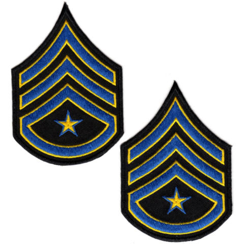 Uniform Chevrons - Royal/Med Gold on Black - 3-inch wide - Sergeant w/Rocker & Star - Pair