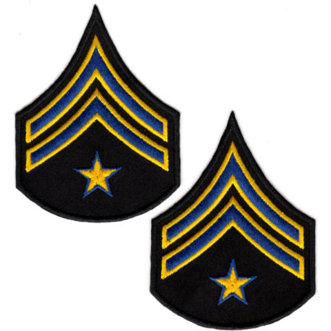 Uniform Chevrons - Royal/Med Gold on Black - 3-inch wide - Corporal w/Star - Pair