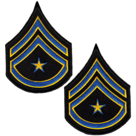 Uniform Chevrons - Royal/Med Gold on Black - 3-inch wide - Corporal w/Rocker & Star - Pair