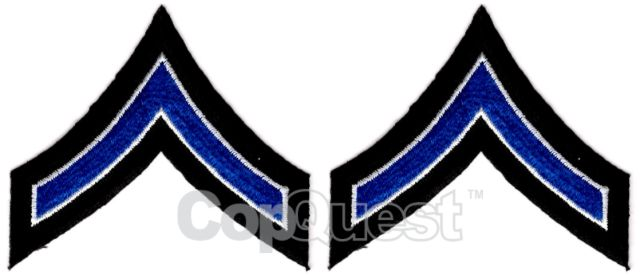 Uniform Chevrons - Royal/White on Black - 3.5-inch wide - Private - Pair