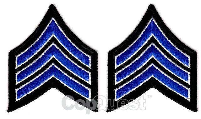 Uniform Chevrons - Royal/White on Black - 3-inch wide - Sergeant - Pair