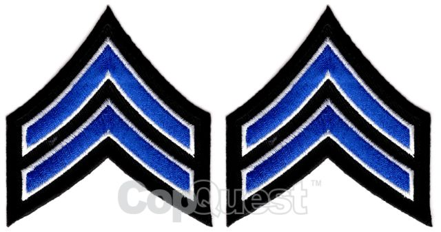 Uniform Chevrons - Royal/White on Black - 3-inch wide - Corporal - Pair
