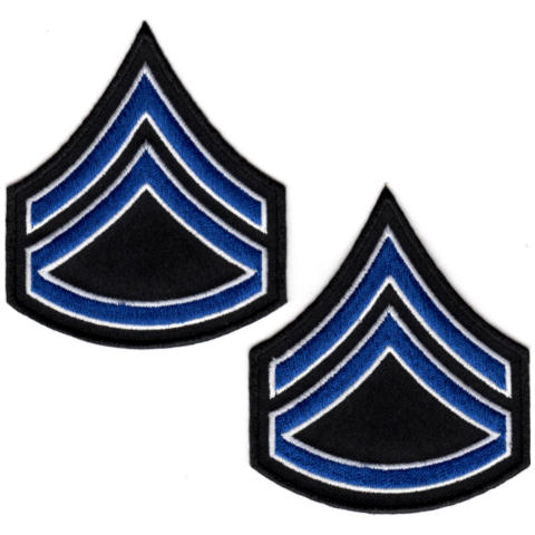 Uniform Chevrons - Royal/White on Black - 3-inch wide - Corporal w/Rocker