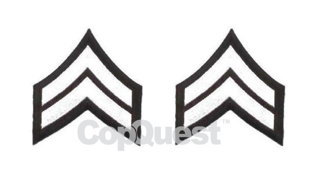 Uniform Chevrons - White on Black - 3 inch wide - Corporal - Pair