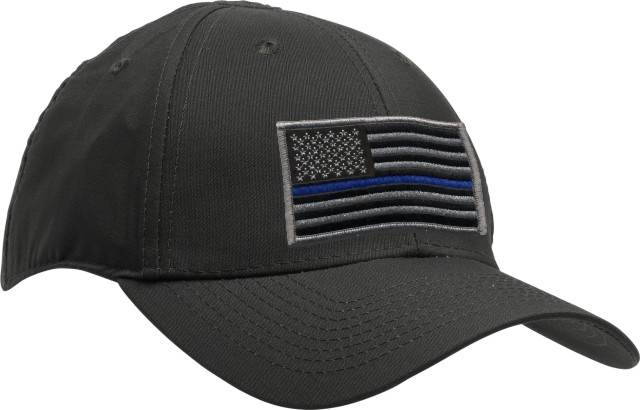 Uniform Hat with Thin Blue Line Flag Patch - Black