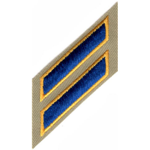 Uniform Service Hash Marks - Royal-Medium Gold on Tan Twill - 2 Hashes