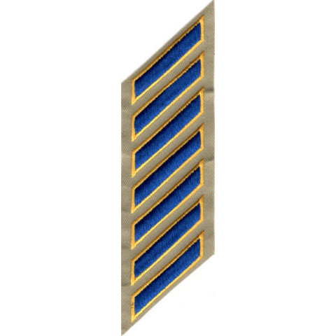 Uniform Service Hash Marks - Royal-Medium Gold on Tan Twill - 7 Hashes