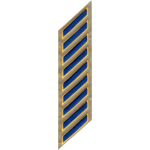 Uniform Service Hash Marks - Royal-Medium Gold on Tan Twill - 9 Hashes
