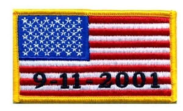 US Flag 9 / 11 / 2001Tribute Patch - Full Color - Gold Border
