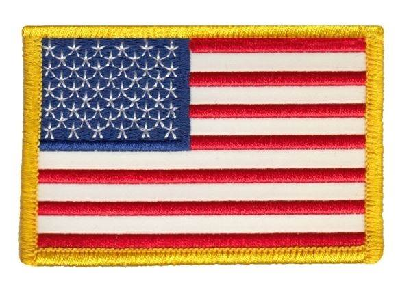 USA Flag Patch - Full Color - Gold Border - Reflective
