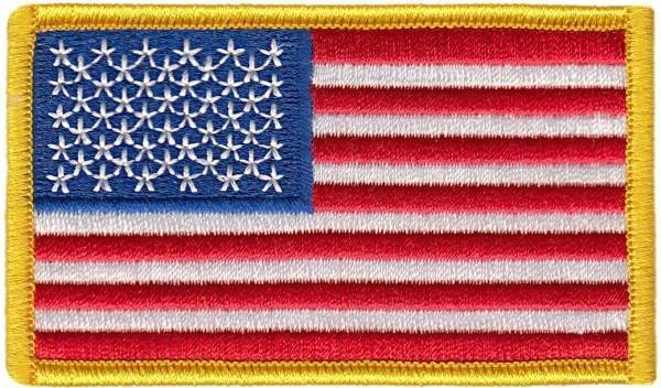 USA Flag Patch - Full Color - Gold Border
