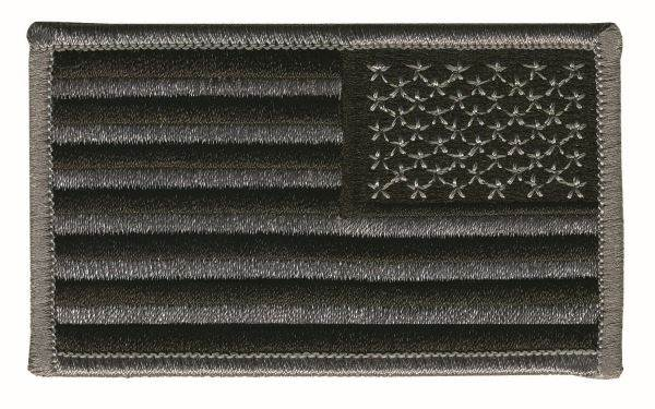 USA Flag Patch - Grey on Black