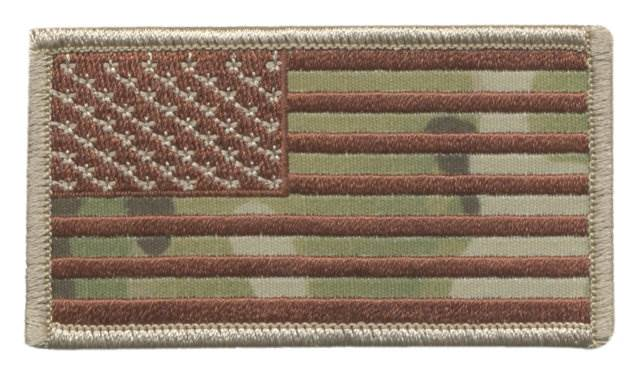 USA Flag Patch - Military Sized - Desert MultiCam OCP - Normal Orientation - Hook backing