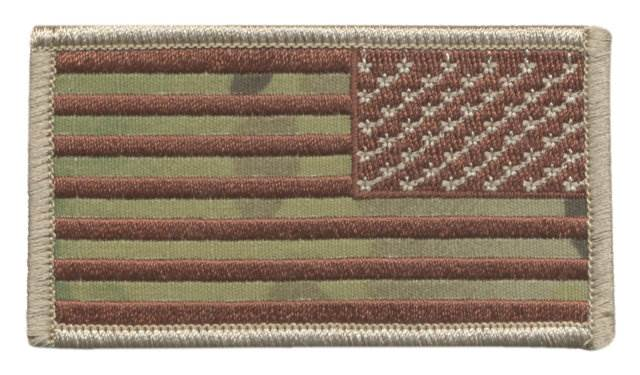USA Flag Patch - Military Sized - Desert MultiCam OCP - Reverse Orientation - Hook backing