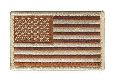 USA Flag Patch - Military Sized - Desert - Normal Orientation - Hook backing