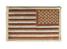 USA Flag Patch - Military Sized - Desert - Reverse Orientation - Hook backing
