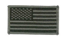 USA Flag Patch - Military Sized - Foliage Green / ACU - Normal Orientation - Hook backing