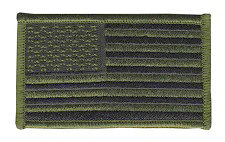 USA Flag Patch - Military Sized - OD on Black - Normal Orientation - Hook backing