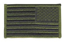 USA Flag Patch - Military Sized - OD on Black - Reverse Orientation - Hook backing