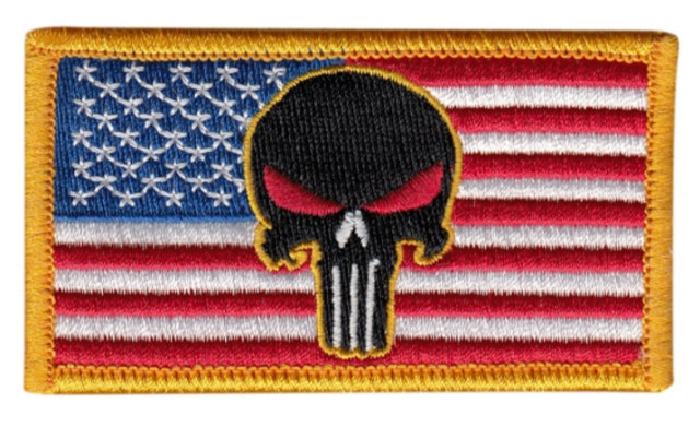 USA Flag Patch - Punisher Skull - Full Color - Hook backing