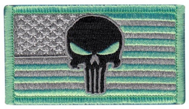 USA Flag Patch - Punisher Skull - Grey/Green - Hook backing