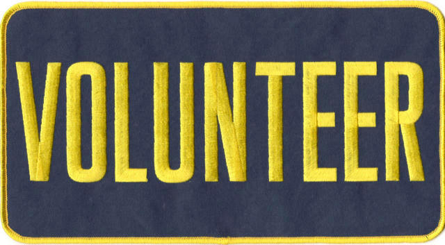 VOLUNTEER Back Patch - 11 x 6 - Med Gold Lettering - Navy Backing - Sew on