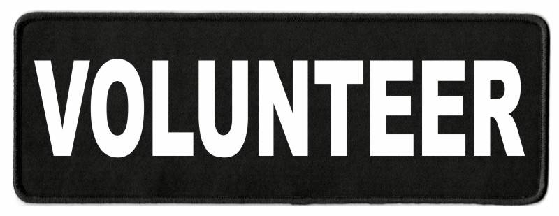 VOLUNTEER Patch - 11x4 - White Lettering - Black Twill Backing