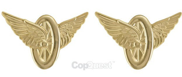 Wheel and Wings - Pair - Gold